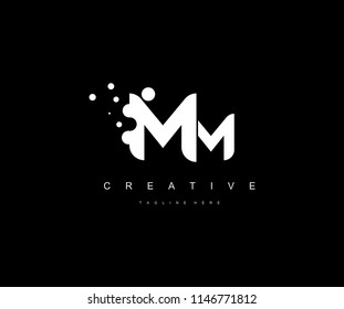Dots Letter MM Monogram Logo Design