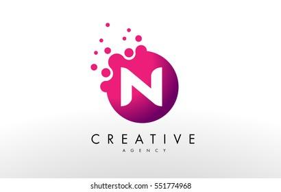 Dots Letter N Logo. N Letter Design Vector with Dots.