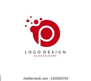 Dots Letter P Logo Design Template