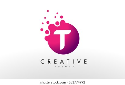 Dots Letter T Logo. T Letter Design Vector with Dots.