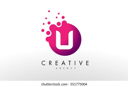 Dots Letter U Logo. U Letter Design Vector with Dots.