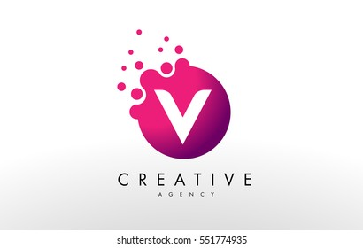 Dots Letter V Logo. V Letter Design Vector with Dots.
