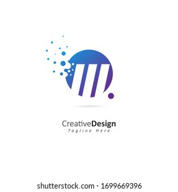 Dots Letter W Logo. W Letter Design Vector with Dots.