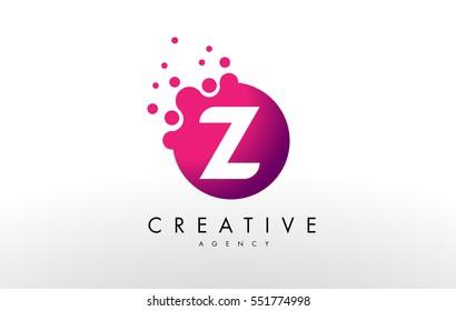Dots Letter Z Logo.Z Letter Design Vector with Dots.