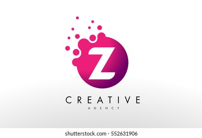 Dots Letter Z Logo.Z Letter Design Vector with Dots.