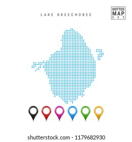 Dots Pattern Vector Map of Lake Okeechobee, Florida. Stylized Simple Silhouette of Lake Okeechobee. Set of Multicolored Map Markers. Illustration Isolated on White Background.