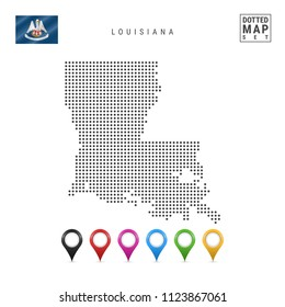 Dots Pattern Vector Map of Louisiana. Stylized Simple Silhouette of Louisiana. The Flag of the State of Louisiana. Set of Multicolored Map Markers. Illustration Isolated on White Background.