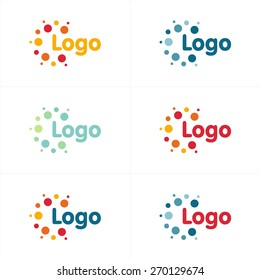 Dots vector logo. Abstract unusual sun logos collection. Chem isolated symbol. Colorful illustration set.