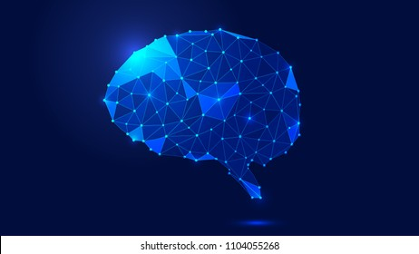 Dots,lines and surface links are constructed to abstract the brain and abstract future scientific and technical background.
