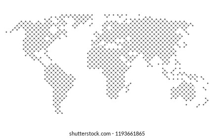 Dotted abstract world map of dots and lines