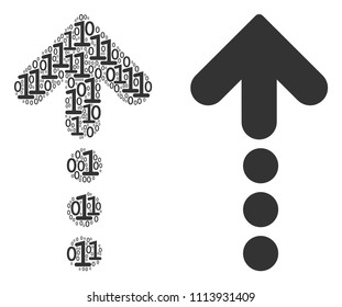 Dotted arrow composition icon of zero and null digits in randomized sizes. Vector digit symbols are united into dotted arrow composition design concept.