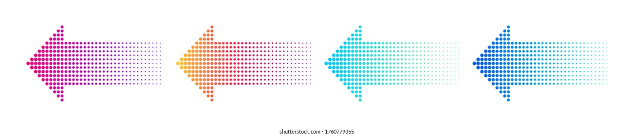 Dotted arrow gradient design. Vector isolated elements. Arrow halftone effect. EPS 10