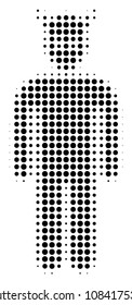 Dotted black daemon icon. Vector halftone collage of daemon icon organized from round items.
