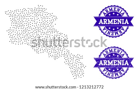 Dotted Black Map Armenia Blue Unclean Stock Vector (Royalty Free ...