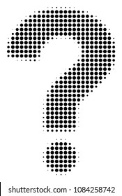 Dotted black question icon. Vector halftone pattern of question pictogram constructed of round dots.