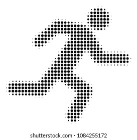 Dotted black running man icon. Vector halftone concept of running man pictogram constructed of round dots.