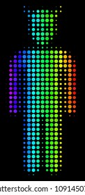 Dotted bright halftone daemon icon drawn with rainbow color hues with horizontal gradient on a black background. Bright vector composition of daemon illustration constructed from spheric points.