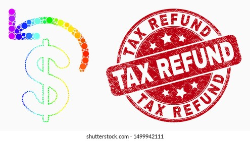 Dotted bright spectral dollar refund mosaic pictogram and Tax Refund stamp. Red vector rounded scratched seal stamp with Tax Refund caption. Vector combination in flat style.