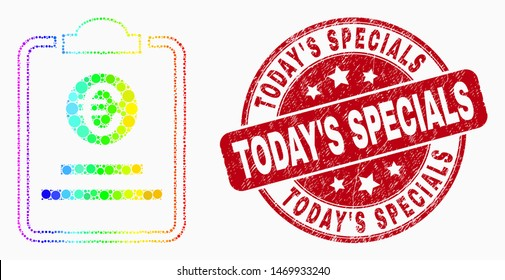 Dotted bright spectral euro price pad mosaic pictogram and Today'S Specials watermark. Red vector round grunge watermark with Today'S Specials phrase. Vector combination in flat style.