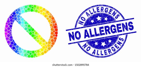 Dotted bright spectral forbidden mosaic icon and No Allergens stamp. Blue vector rounded textured seal stamp with No Allergens caption. Vector combination in flat style.