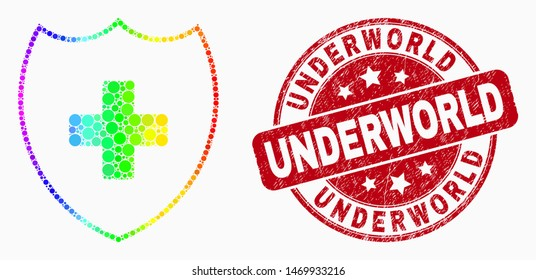 Dotted bright spectral medical shield mosaic icon and Underworld seal. Red vector rounded grunge seal with Underworld caption. Vector combination in flat style.