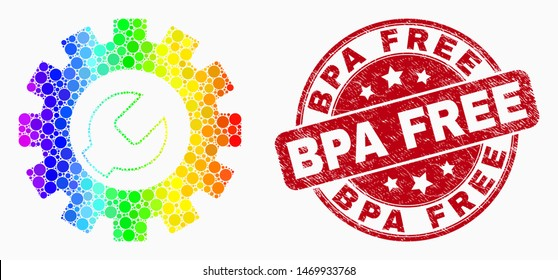 Dotted bright spectral setup tools mosaic icon and Bpa Free seal stamp. Red vector rounded grunge stamp with Bpa Free message. Vector collage in flat style.