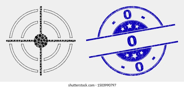 Dotted bullseye mosaic pictogram and 0 watermark. Blue vector round grunge watermark with 0 text. Vector collage in flat style. Black isolated bullseye mosaic of scattered spheres, and 0 watermark.