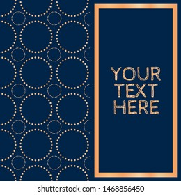 dotted circle fretwork pattern in navy & copper