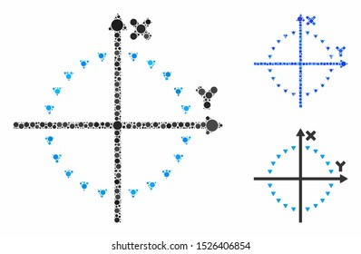 Dotted circle plot mosaic for dotted circle plot icon of circle elements in different sizes and color hues. Vector circle elements are composed into blue composition.