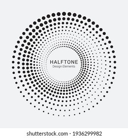 Dotted circular logo. circular concentric dots isolated on the white background. Halftone fabric design.Halftone circle dots texture. Vector design element for various purposes.