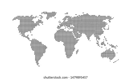 Dotted color world map vector