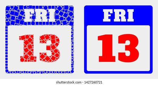 Dotted and flat 13th Friday calendar page icons. Vector mosaic of 13th Friday calendar page designed of random small rectangles and circle points.