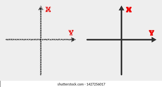 Dotted and flat Cartesian axes icons. Vector mosaic of Cartesian axes constructed of random small rectangles and spheric points.