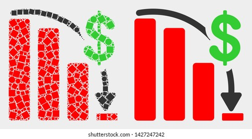 Dotted and flat financial epic fail chart icons. Vector mosaic of financial epic fail chart formed of scattered square particles and circle items.