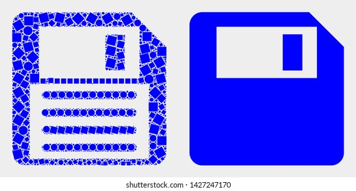 Dotted and flat floppy disk icons. Vector mosaic of floppy disk organized of irregular square pixels and round pixels.