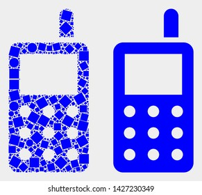 Dotted and flat radio transmitter icons. Vector mosaic of radio transmitter constructed of scattered square pixels and round pixels.
