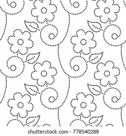 Dotted flowers leaves and vines seamless pattern in black and white, vector background
