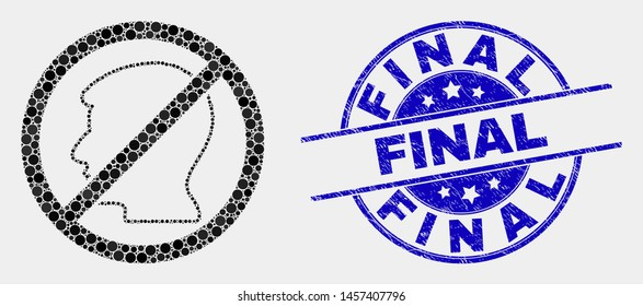Dotted forbidden user mosaic icon and Final watermark. Blue vector rounded distress seal stamp with Final title. Vector combination in flat style.