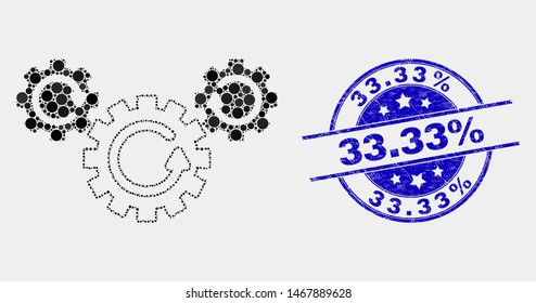 Dotted gear rotation mosaic icon and 33.33 percent seal stamp. Blue vector round scratched seal stamp with 33.33 percent title. Vector collage in flat style.
