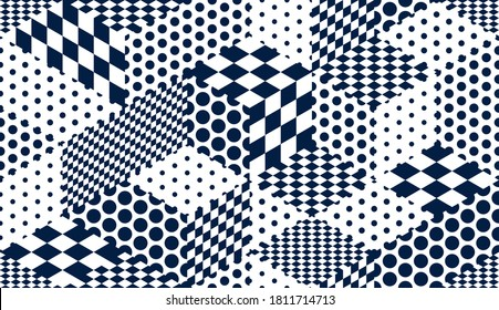 Dotted geometric 3D seamless pattern with cubes, dots and rhombuses chess boards boxes blocks vector background, architecture and construction, wallpaper design.