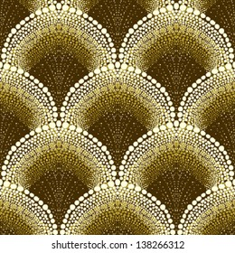 Dotted geometric ornament in art deco style in old gold colors. Texture for web, print, wallpaper, decals, fall winter fashion fabric, textile design, background for wedding invitation, holiday decor