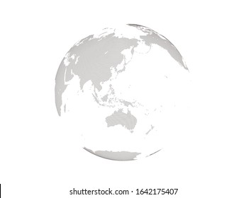 dotted globe earth. center line is japan.