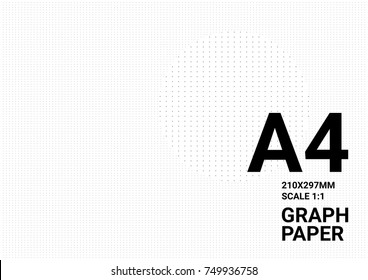 Dotted graph paper background with plotting dots ruler guide grid texture for calligraphy drawing layout. Vector graph paper background 4A template.