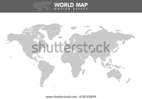 Dotted Gray World Map Small Dot Stock Vector (Royalty Free) 618143894