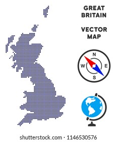 Dotted Great Britain map. Abstract geographical scheme. Points have rhombic form and dark blue color. Vector pattern of Great Britain map composed of rhombic element pattern.