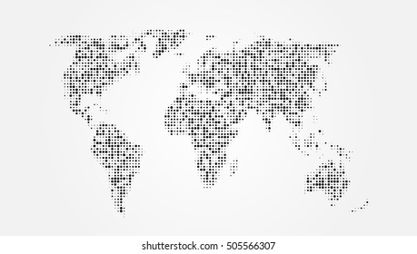 Dotted Grey Abstract World Map. EPS10 Vector
