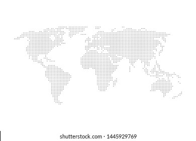 Dotted Grey Color World Map Vector.