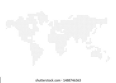dotted grey world map illustration vector
