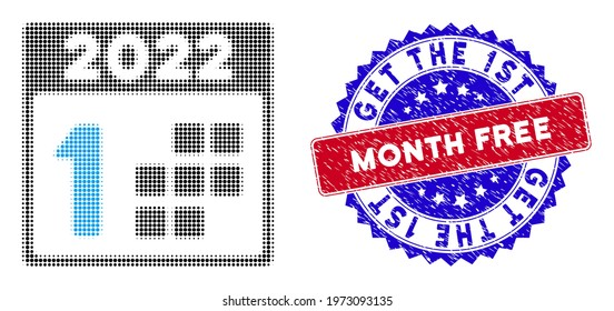 Dotted halftone 2022 first day icon, and Get the 1St Month Free grunge rubber seal. Get the 1St Month Free seal uses bicolor rosette form, red and blue colors.