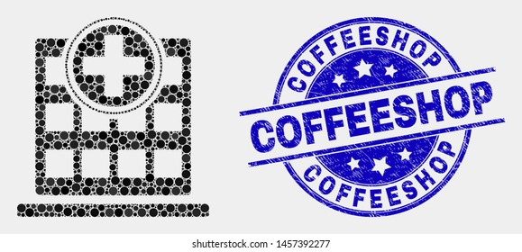 Dotted hospital building mosaic pictogram and Coffeeshop watermark. Blue vector round scratched seal stamp with Coffeeshop title. Vector combination in flat style.